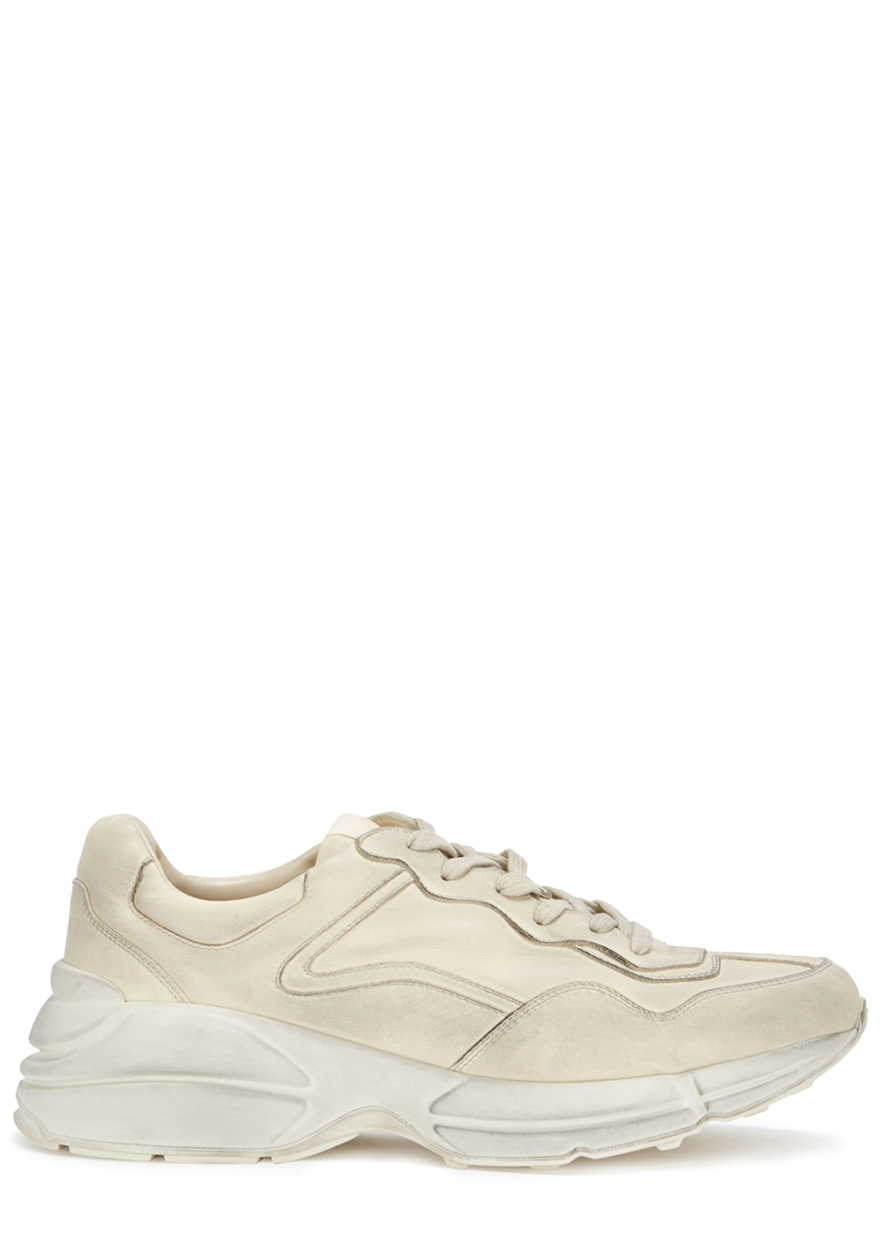 GUCCI RHYTON DISTRESSSED LEATHER TRAINERS