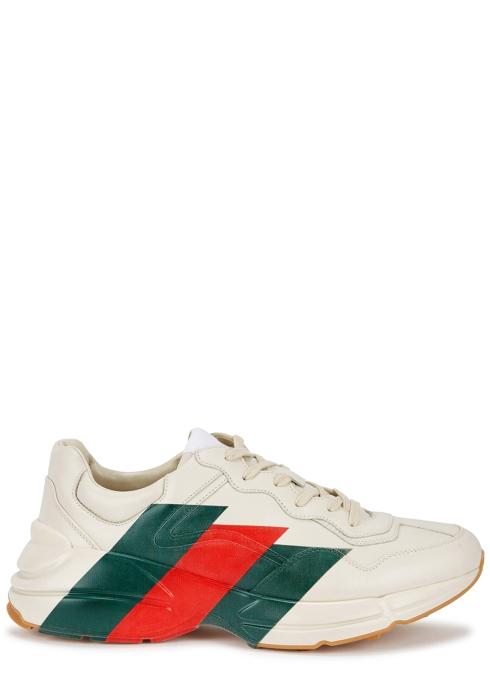 fe96bdd8d46 Gucci Rhyton printed leather trainers - Harvey Nichols