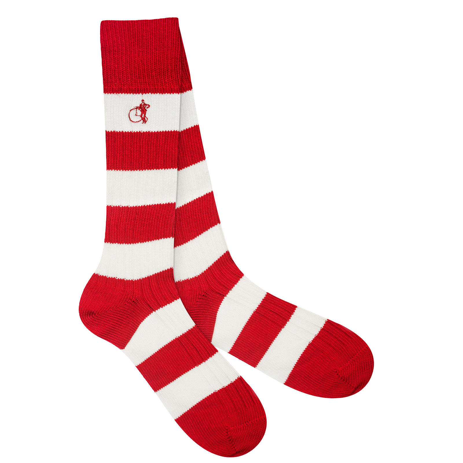 LONDON SOCK COMPANY Pitch Side White & Red