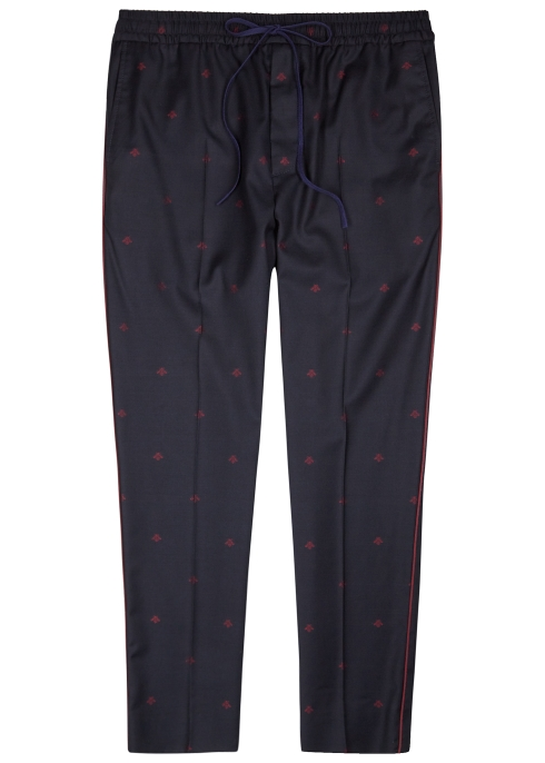 ef69d8c8918 Gucci Bee-embroidered wool jogging trousers - Harvey Nichols