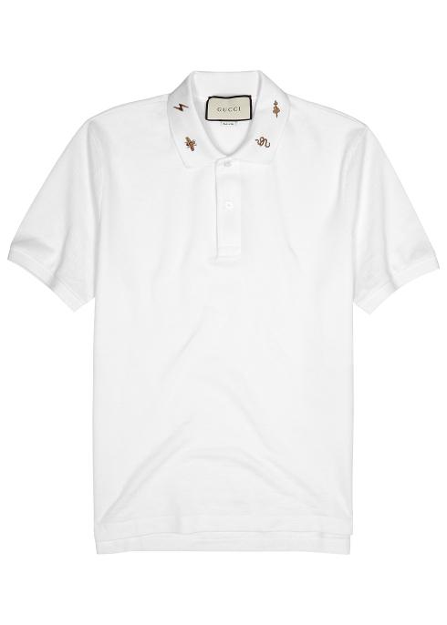 f09c8c2d9 Gucci White piqué stretch-cotton polo shirt - Harvey Nichols