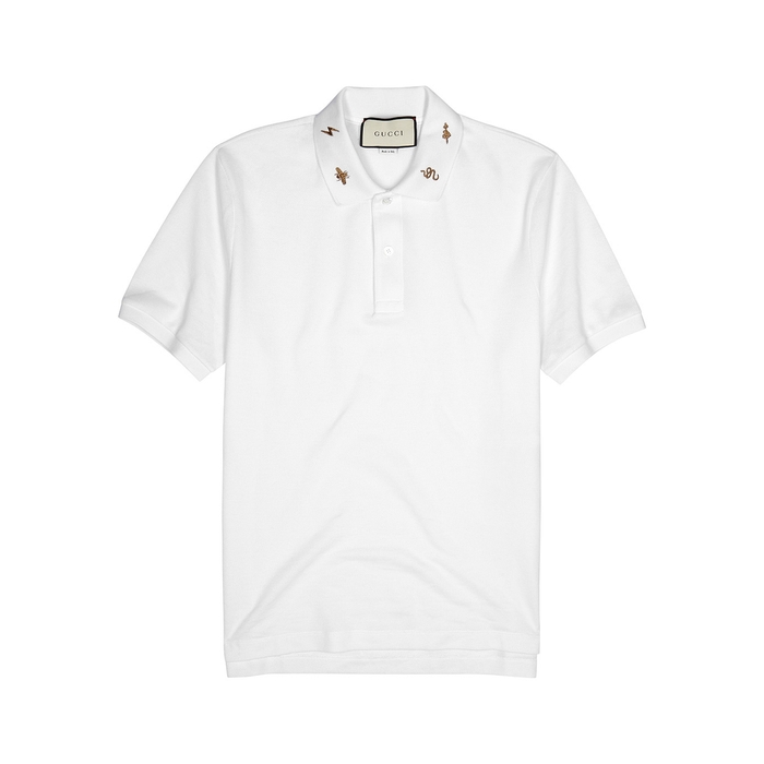Gucci White Piqué Stretch-cotton Polo Shirt thumbnail