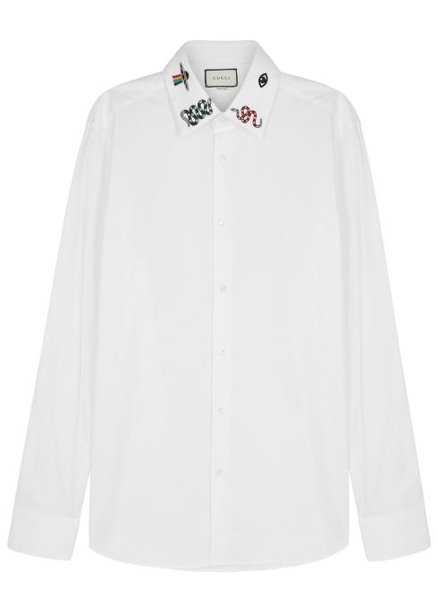acf1df94d39 Gucci White embroidered cotton shirt - Harvey Nichols
