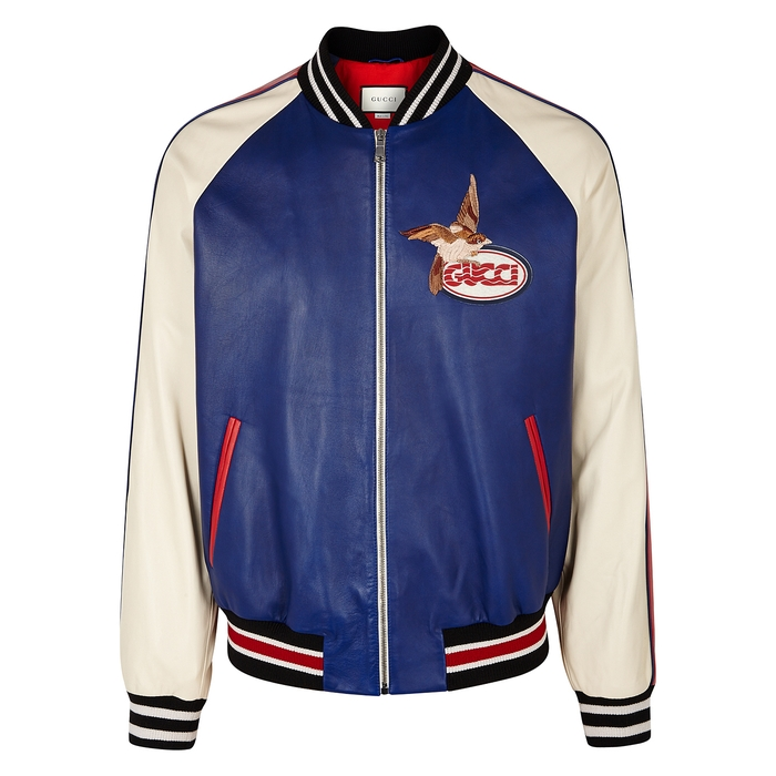 Gucci Tri-tone Embroidered Leather Jacket thumbnail