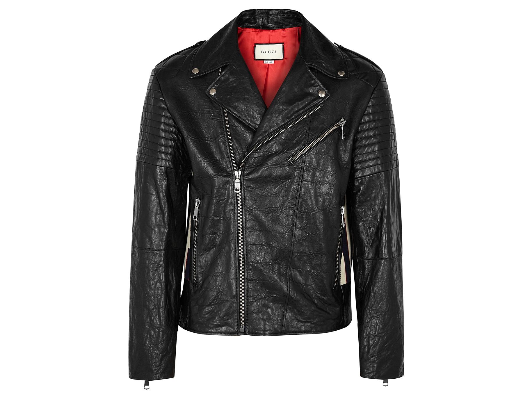 a74355658cfa Gucci Black leather biker jacket - Harvey Nichols