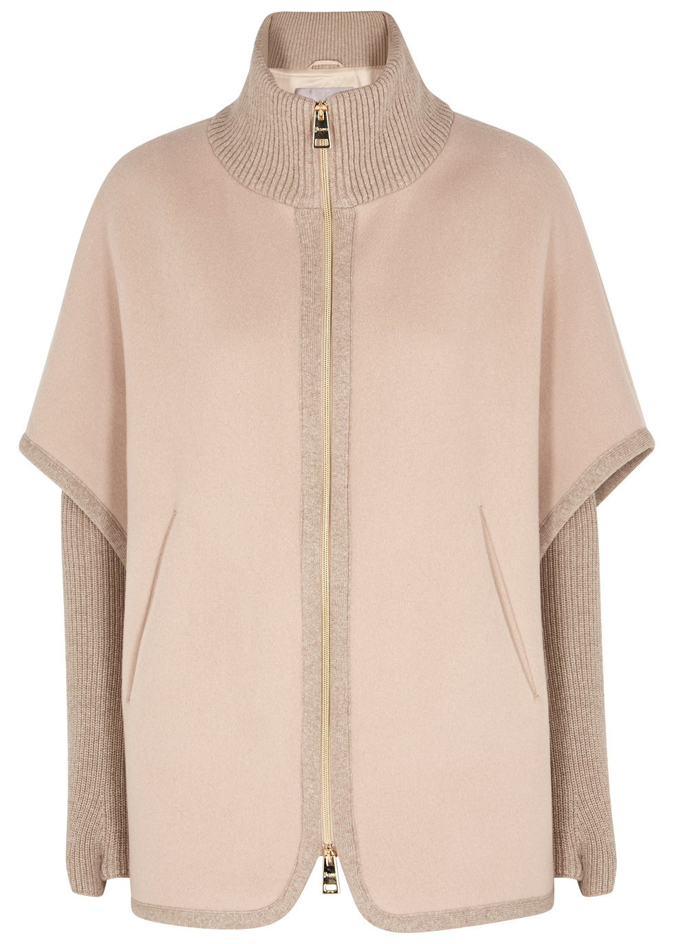 TAUPE WOOL-BLEND CAPE