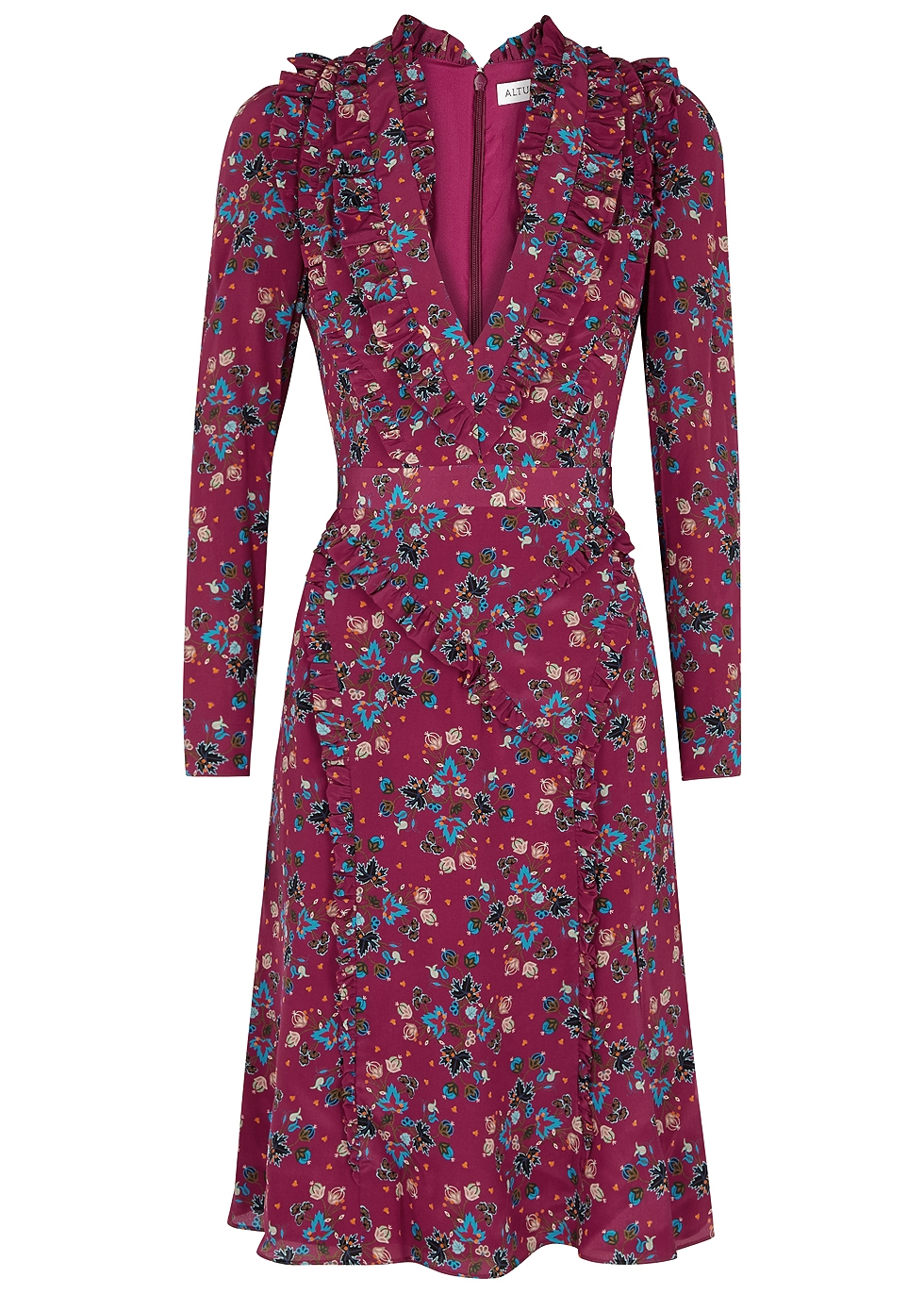 OURIKA FLORAL-PRINT SILK DRESS