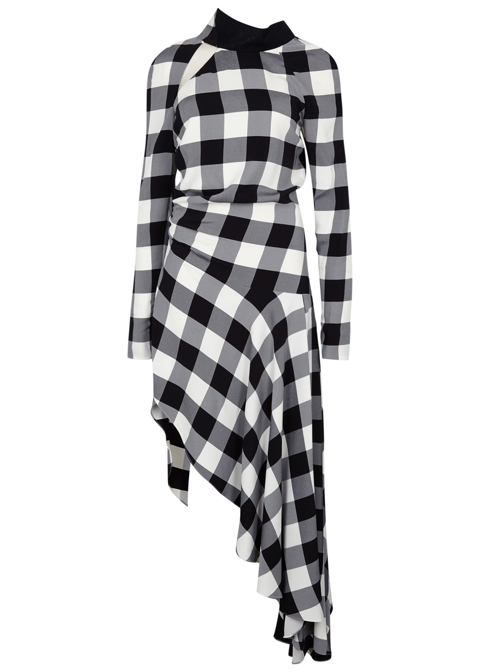 MONOCHROME CHECKED ASYMMETRIC DRESS