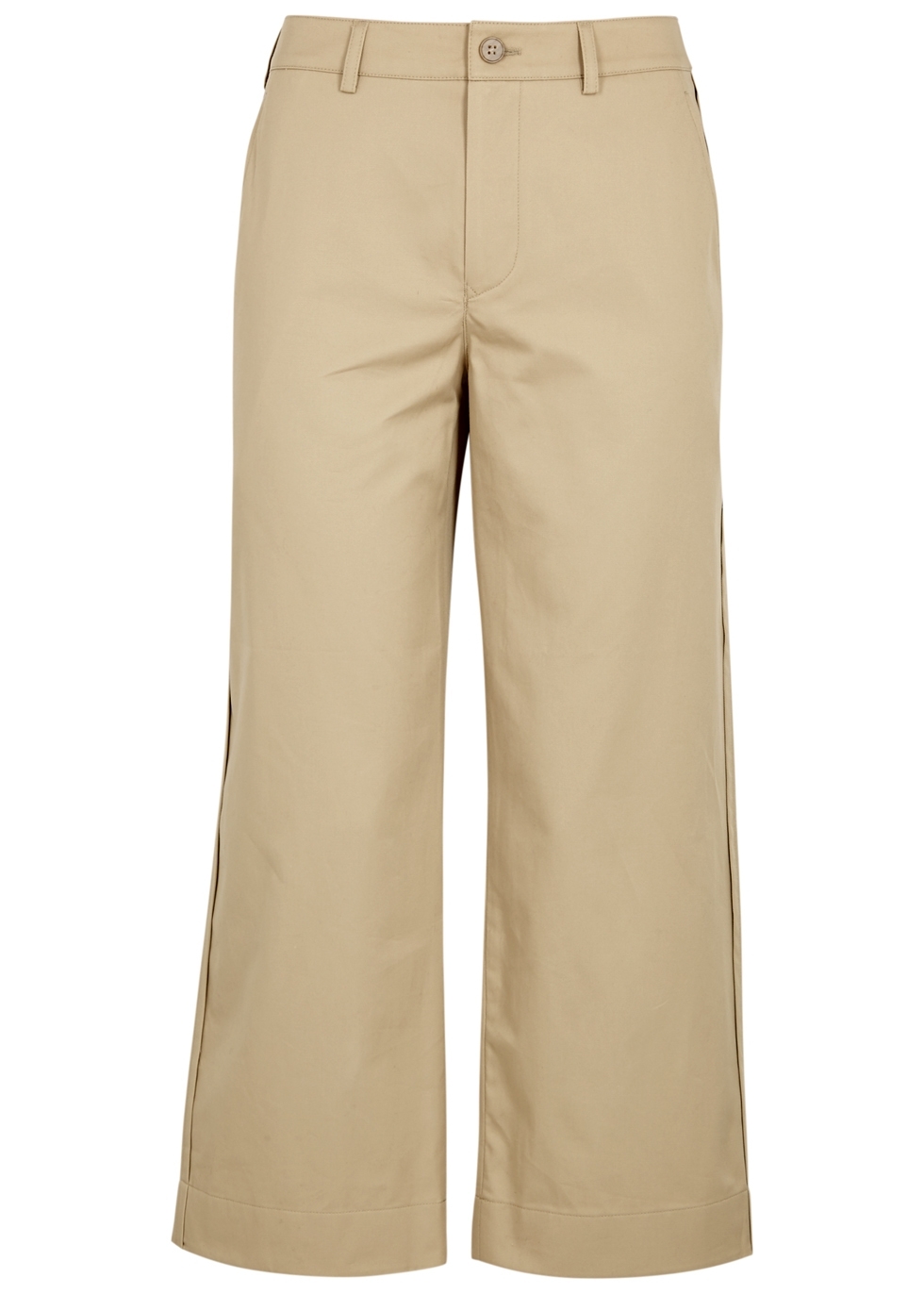 LIGHT SAND CROPPED TWILL TROUSERS