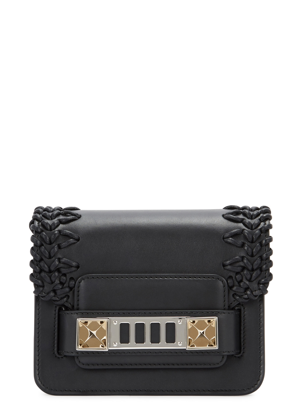 PS11 BLACK LEATHER CROSS-BODY BAG