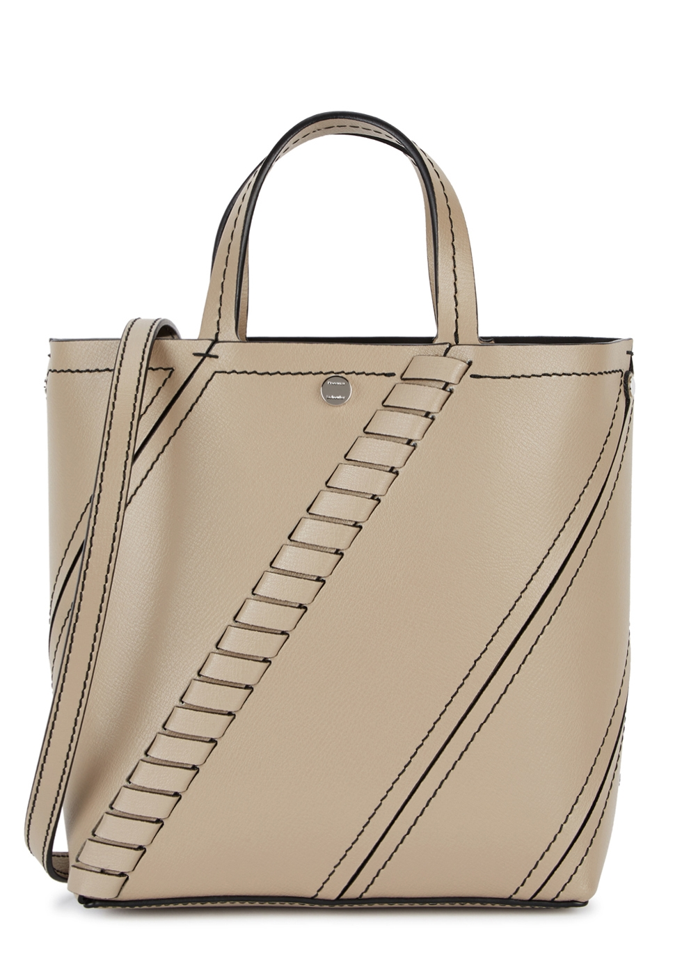 HEX SMALL LIGHT TAUPE LEATHER TOTE