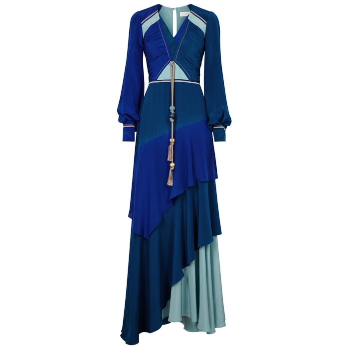 Peter Pilotto COLOUR-BLOCK TIERED SILK GOWN