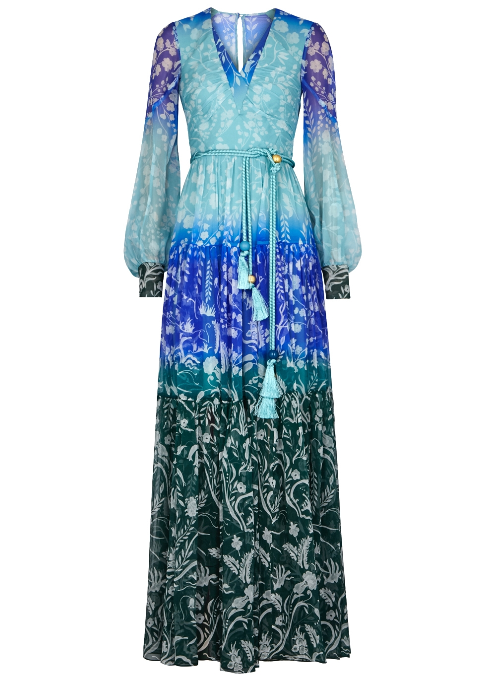Floral-Print Silk Gown, Size Uk10, Women, Blue