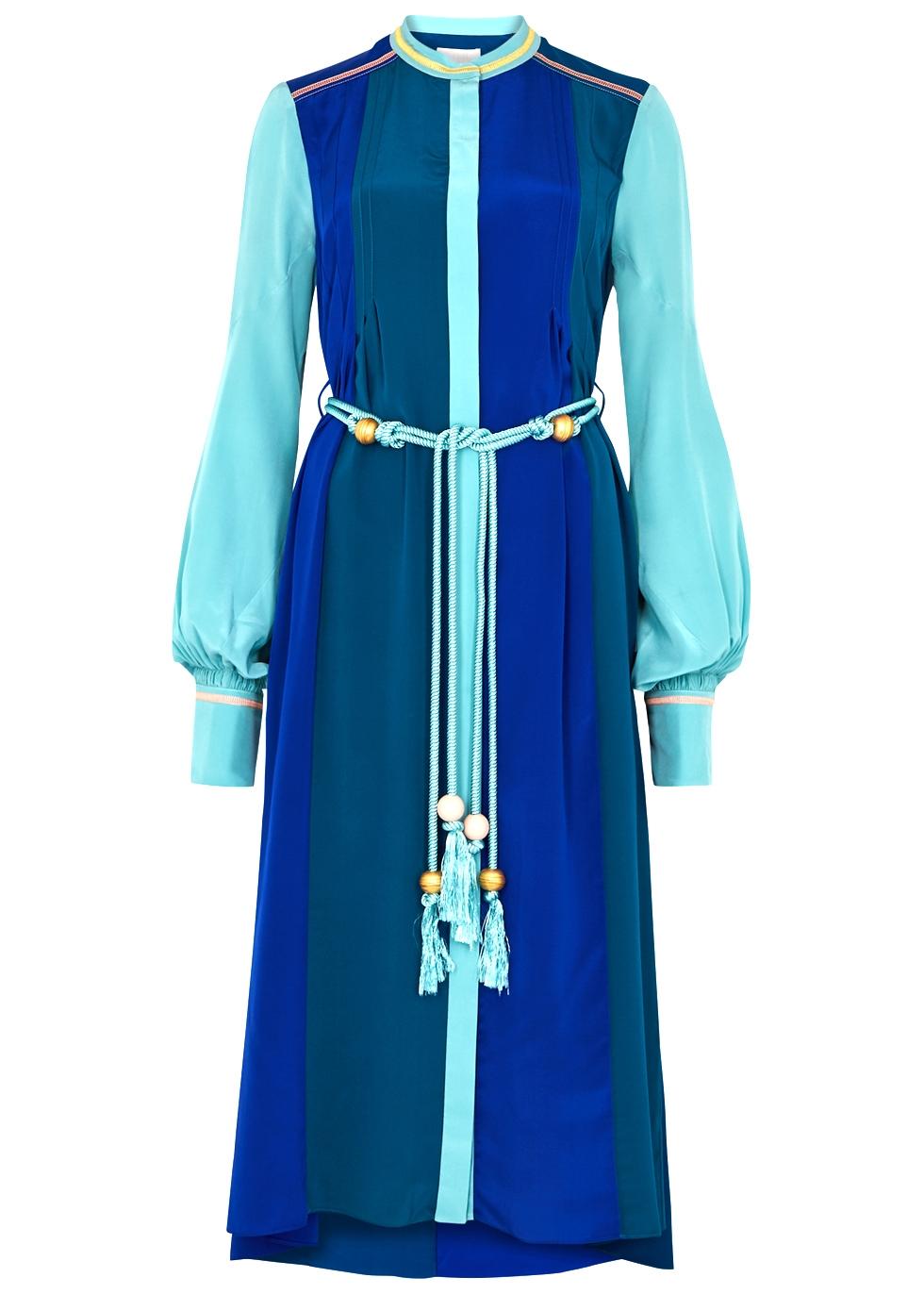 PETER PILOTTO Blue Colour-Block Silk Midi Shirt Dress
