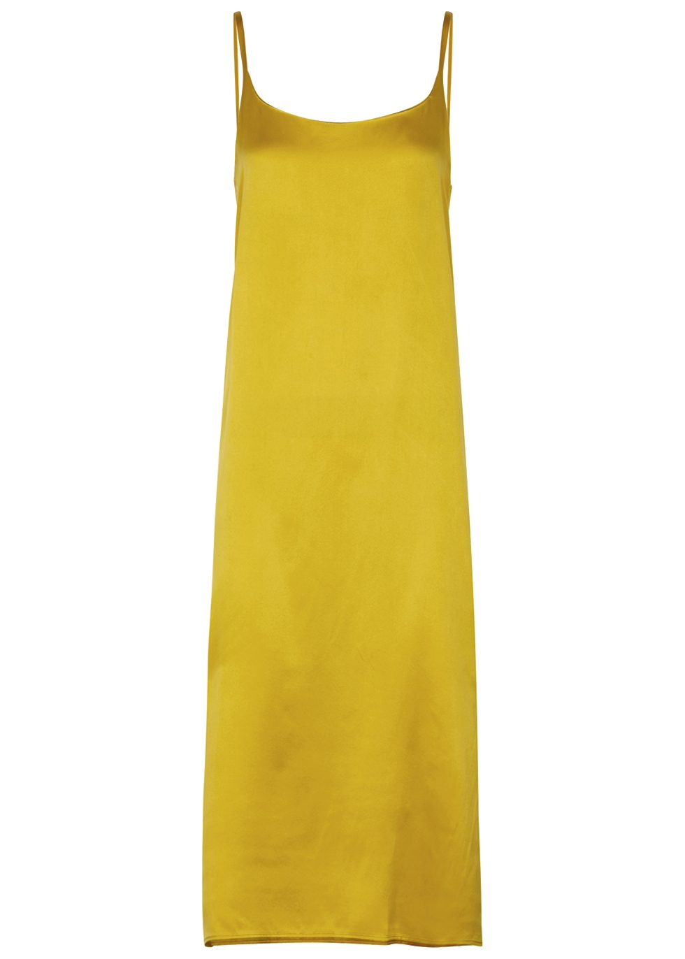 YELLOW SILK MIDI DRESS