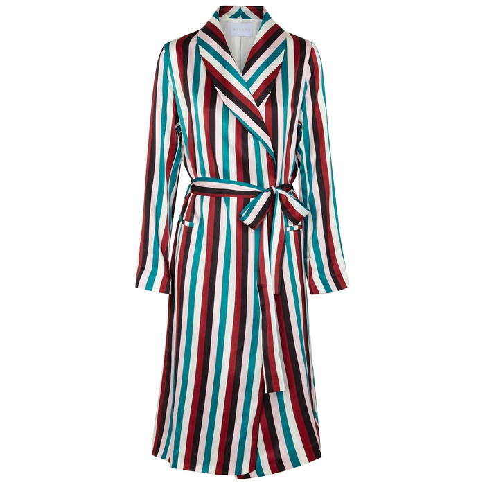 Asceno STRIPED SILK SATIN ROBE