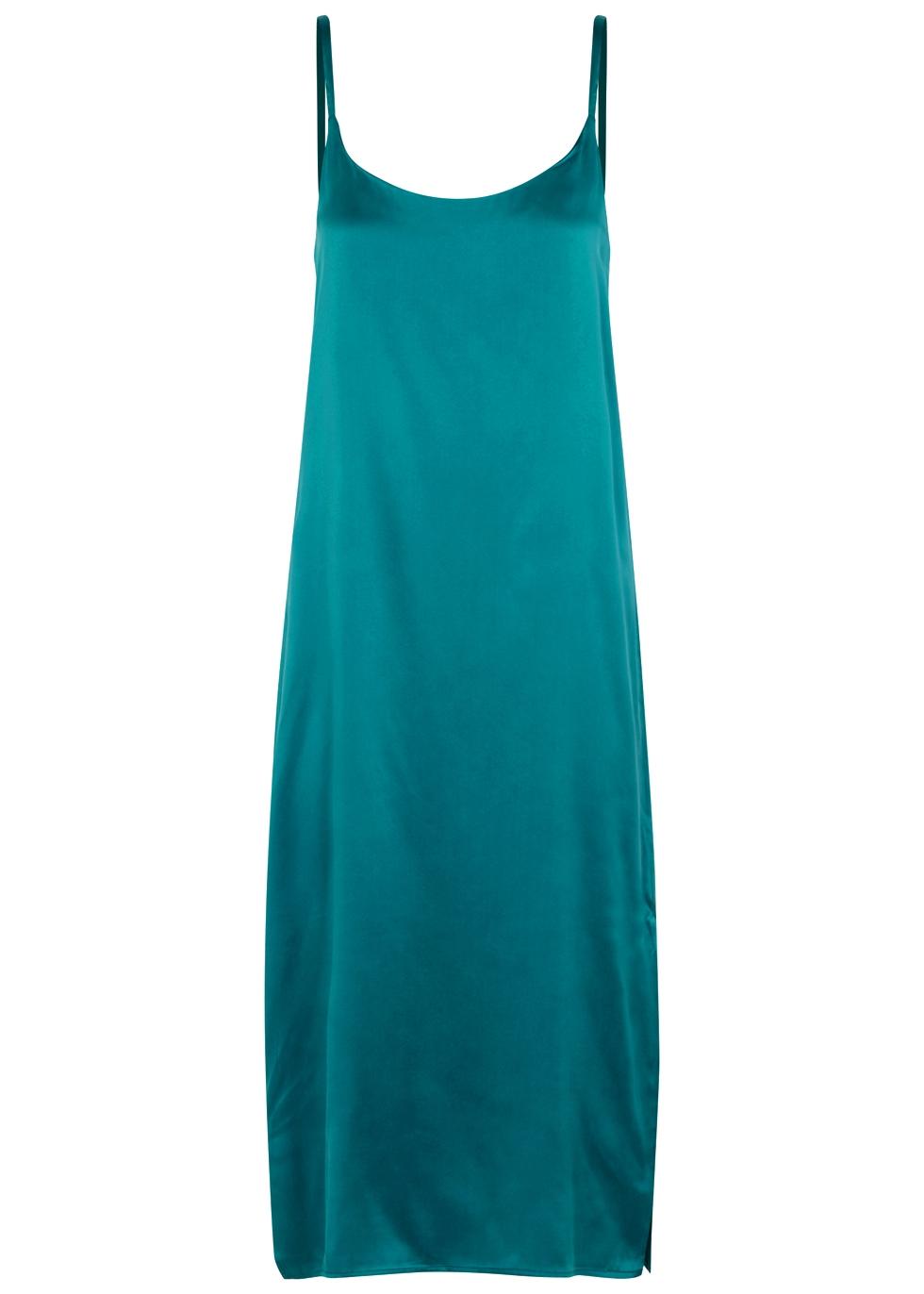 Turquoise Silk Dress, Teal
