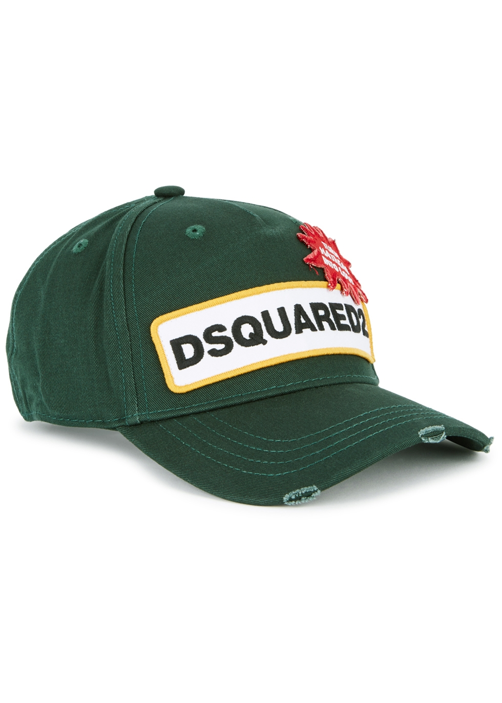 DSQUARED2 GREEN EMBROIDERED TWILL CAP