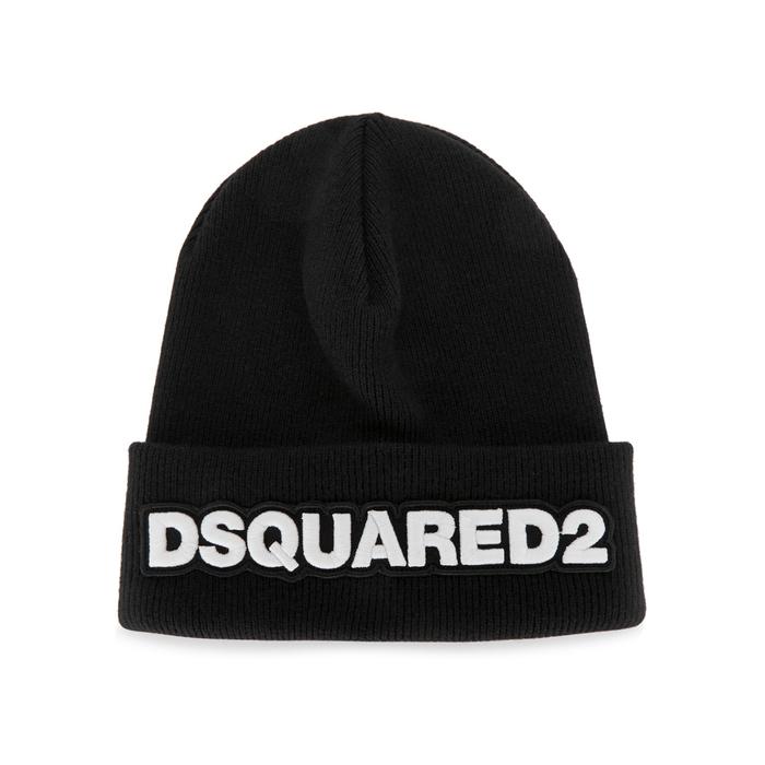 DSQUARED2 Black Appliquéd-logo Beanie