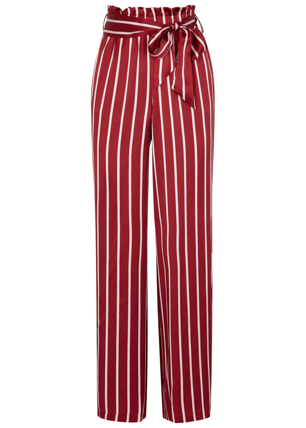 ASCENO Striped Silk Pyjama-Style Trousers in Red