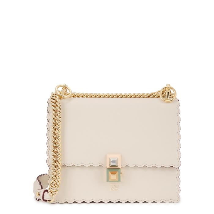 bfc0e2b04842 Fendi Kan I Small Almond Leather Shoulder Bag