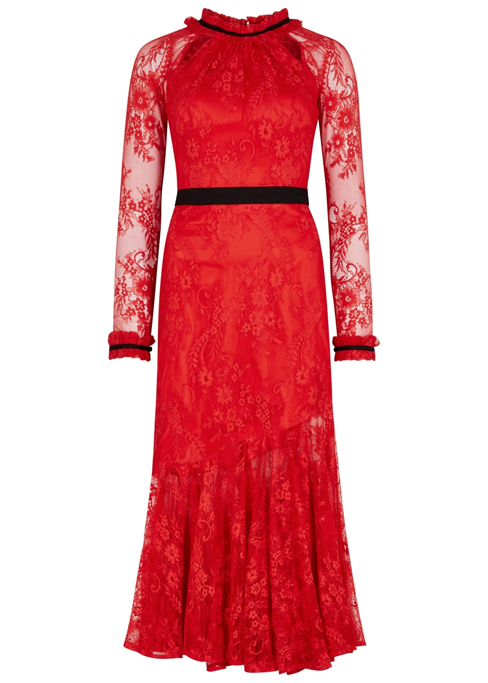 THREE FLOOR SPLIT TEASE EMBROIDERED LACE GOWN