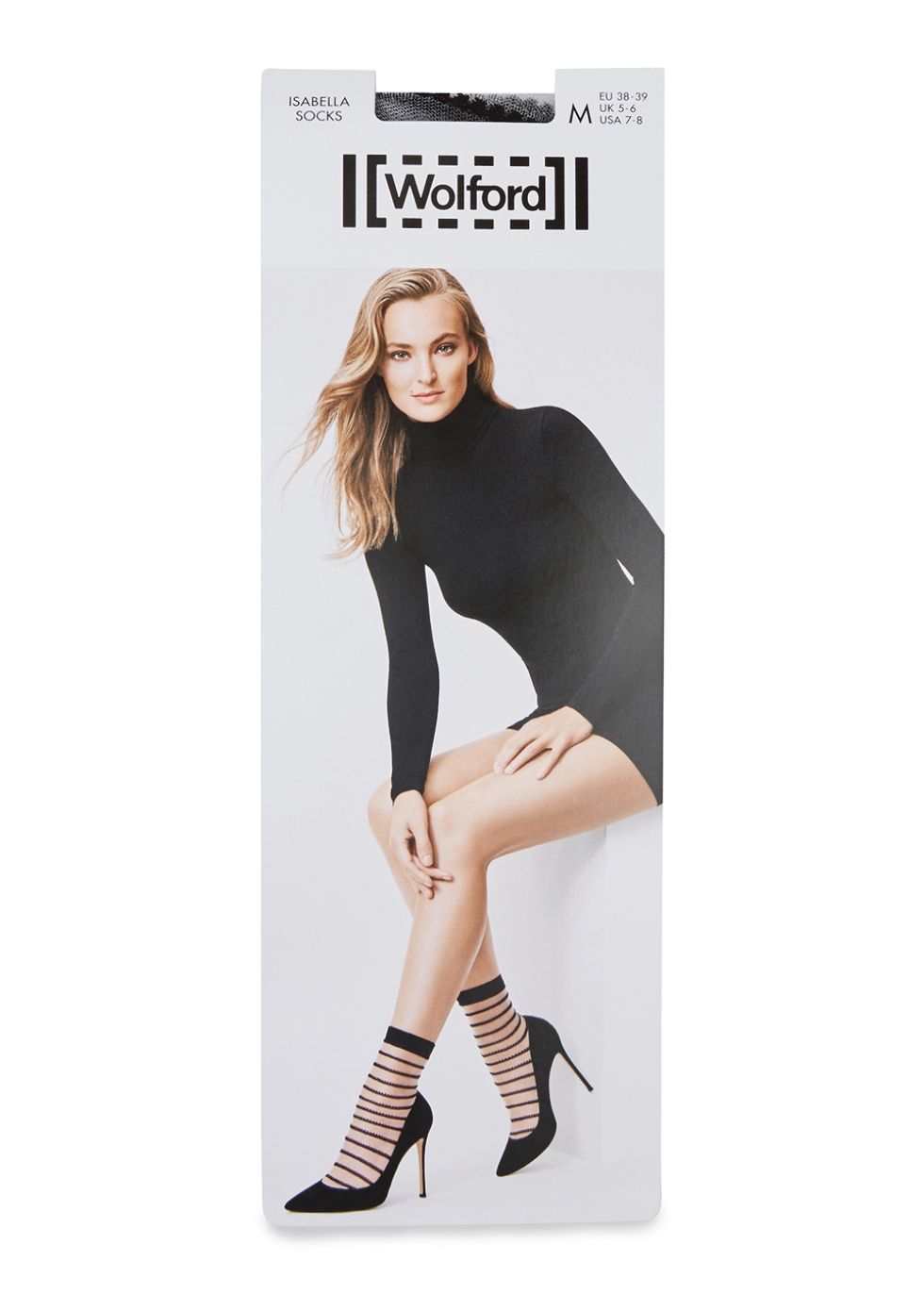 WOLFORD ISABELLA STRIPED COTTON-BLEND SOCKS