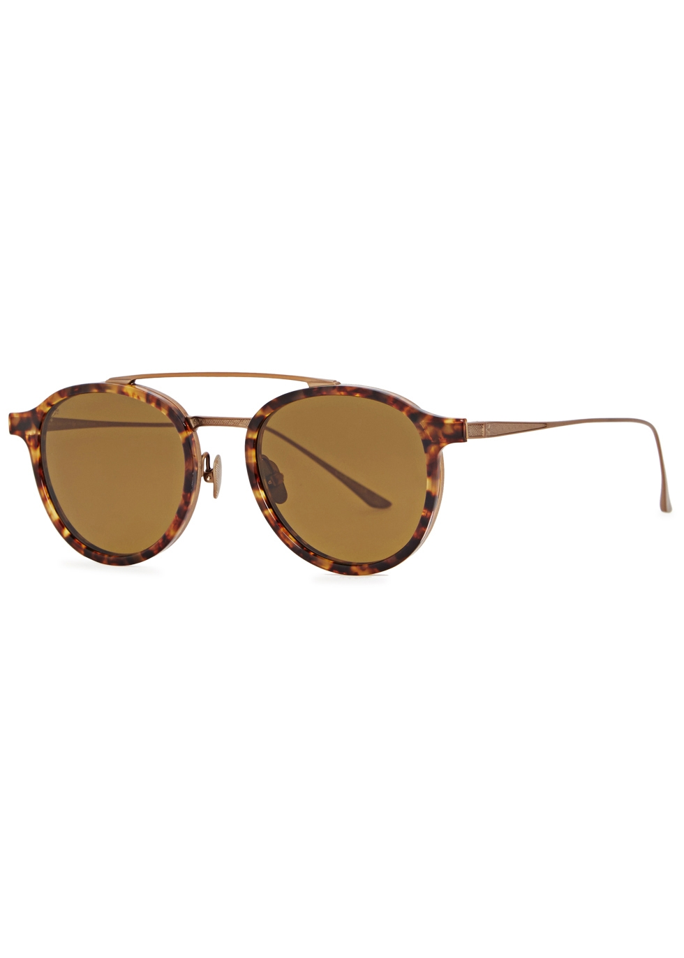 LEISURE SOCIETY CORBUSIER 18CT ANTIQUE GOLD-PLATED SUNGLASSES