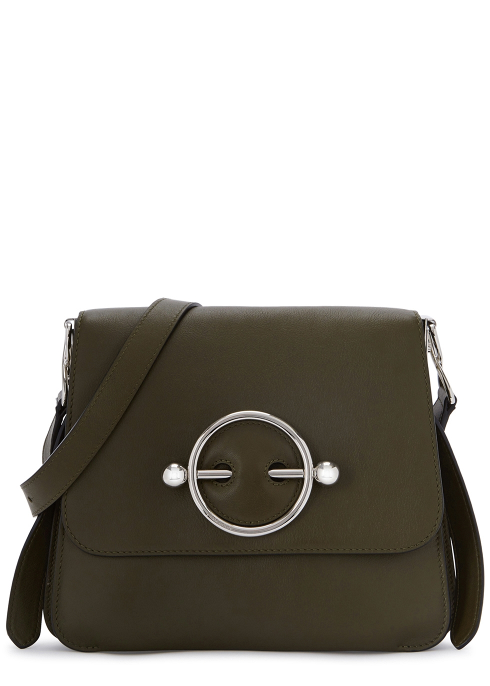 J.W.ANDERSON DISC OLIVE LEATHER CROSS-BODY BAG