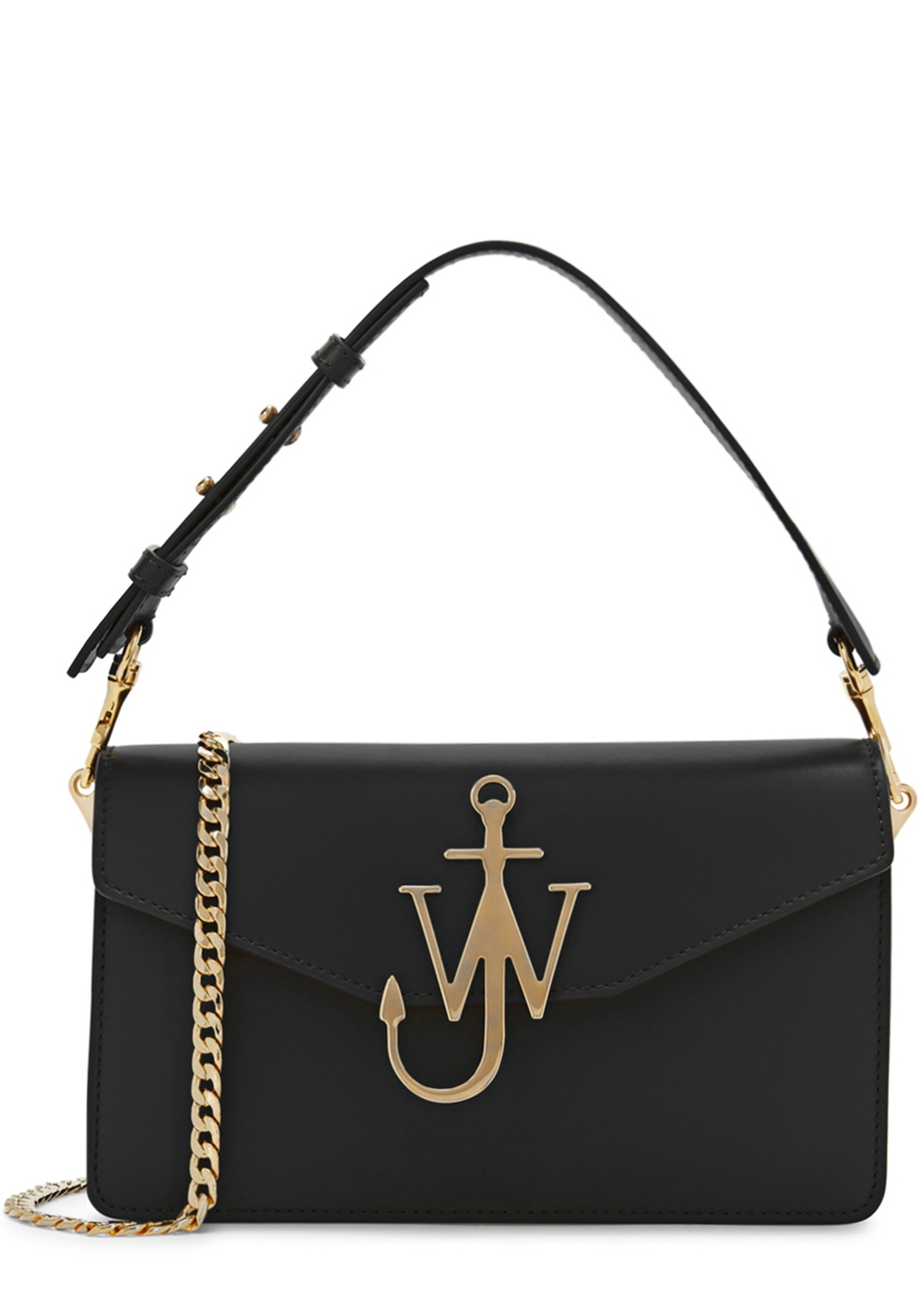 J.W.ANDERSON BLACK LOGO LEATHER SHOULDER BAG