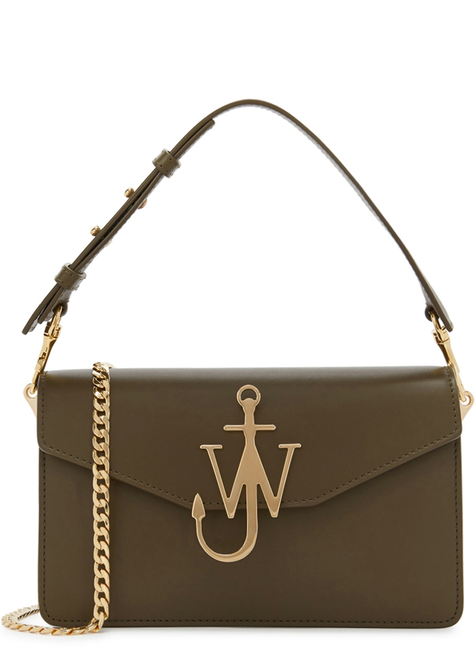 J.W.ANDERSON OLIVE LOGO LEATHER SHOULDER BAG