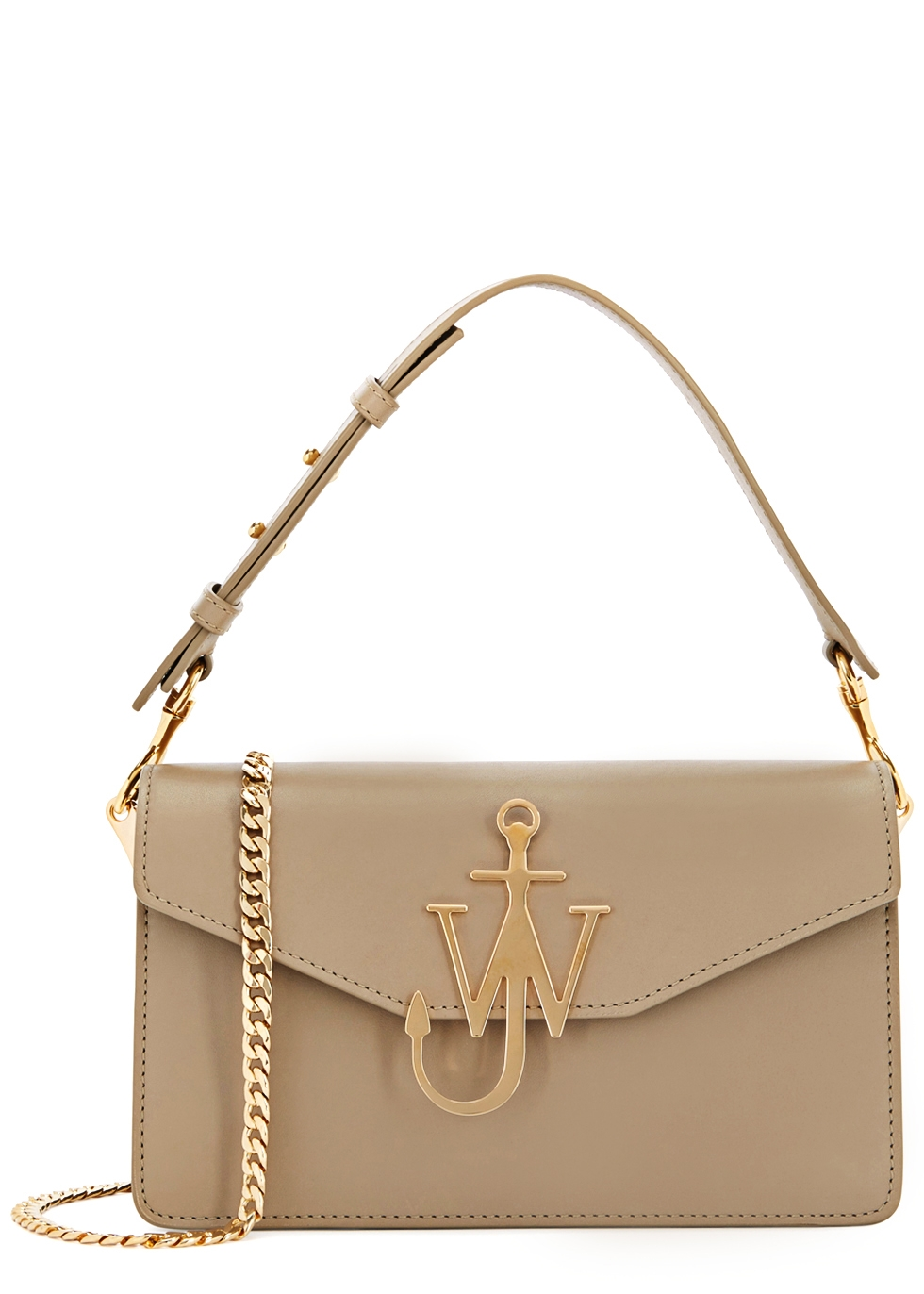 J.W.ANDERSON SAND LOGO LEATHER SHOULDER BAG