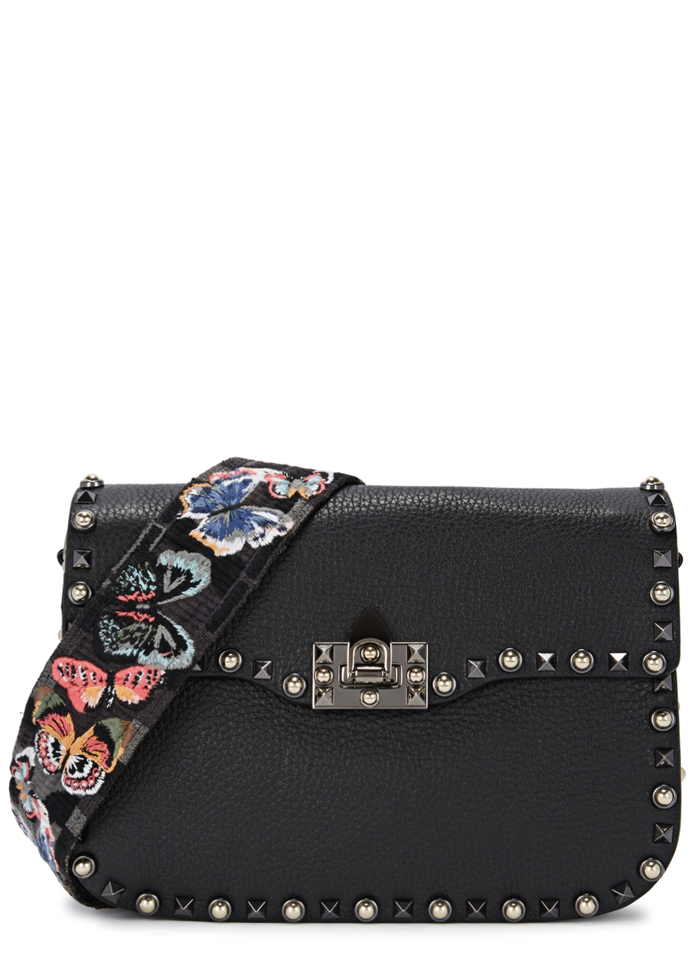 ROCKSTUD ROLLING BLACK LEATHER SHOULDER BAG