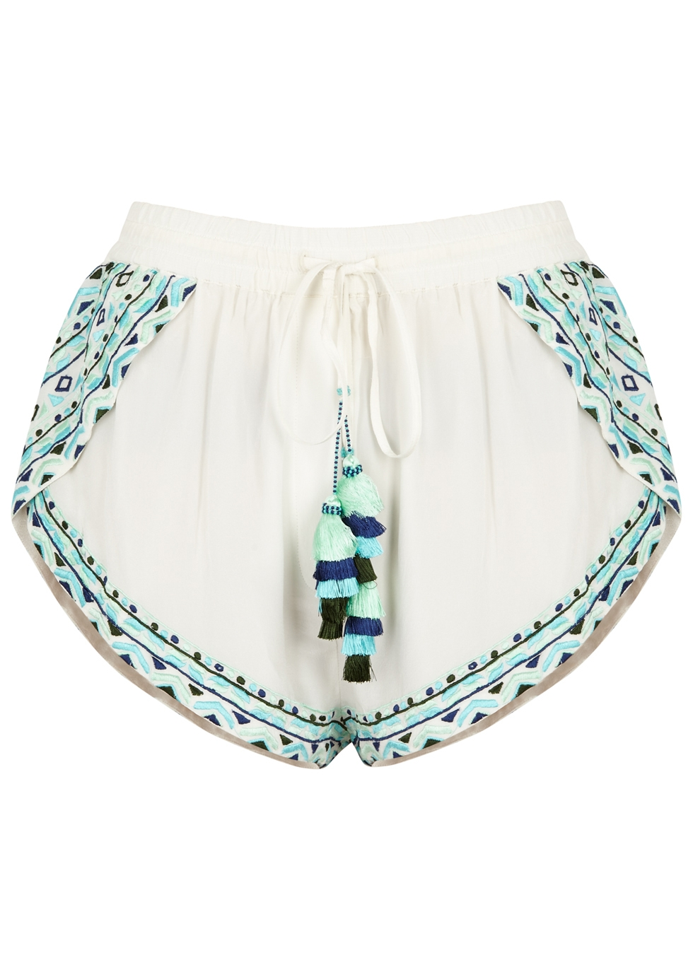 ROCOCO SAND DULCET EMBROIDERED SILK SHORTS