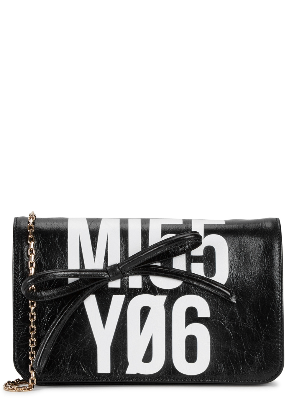 RED VALENTINO BLACK PRINTED LEATHER SHOULDER BAG