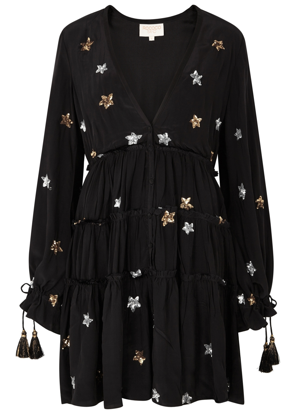 ROCOCO SAND ASTRAL STAR-EMBELLISHED TIERED DRESS