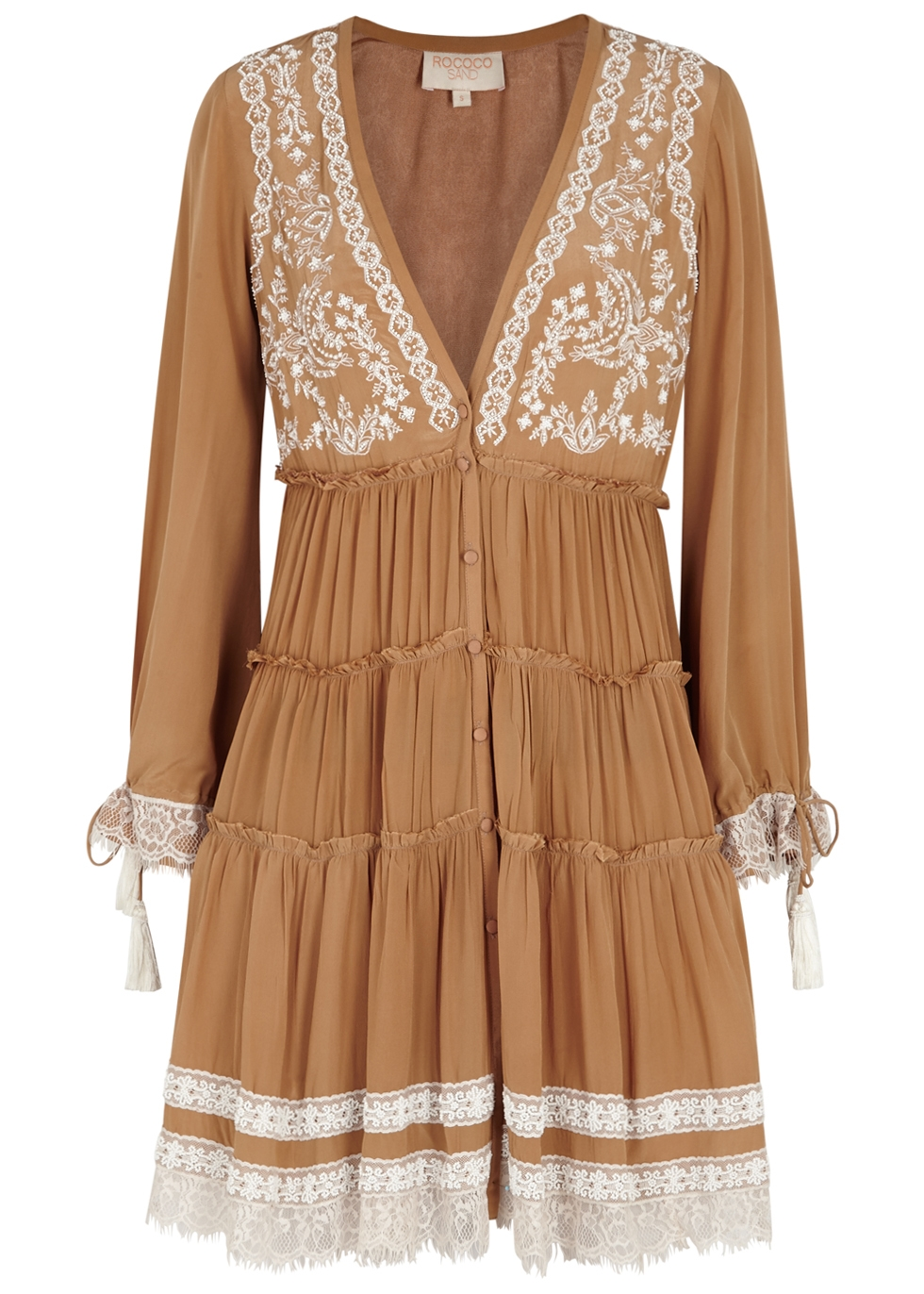 ROCOCO SAND BISQUE MOCHA BEAD-EMBELLISHED DRESS