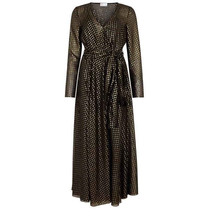 Red Valentino Silks BLACK FIL COUPÉ CHIFFON DRESS