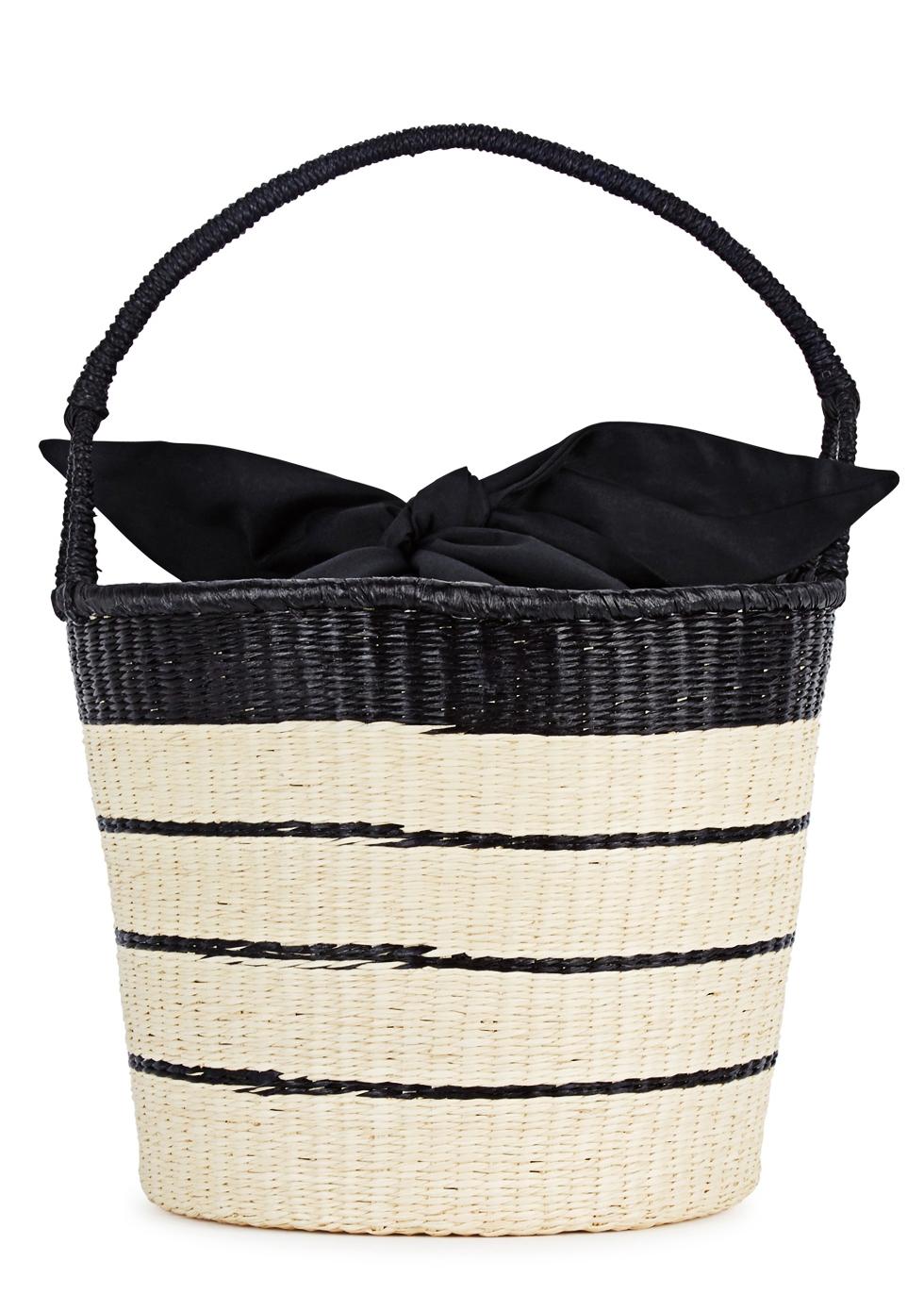 SENSI STUDIO STRIPED STRAW BASKET BAG