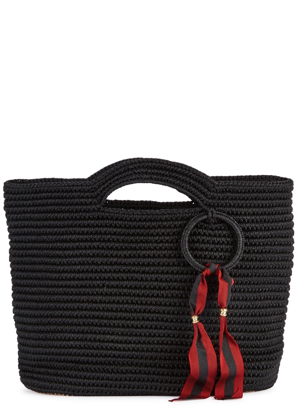 SENSI STUDIO BLACK STRAW BASKET BAG