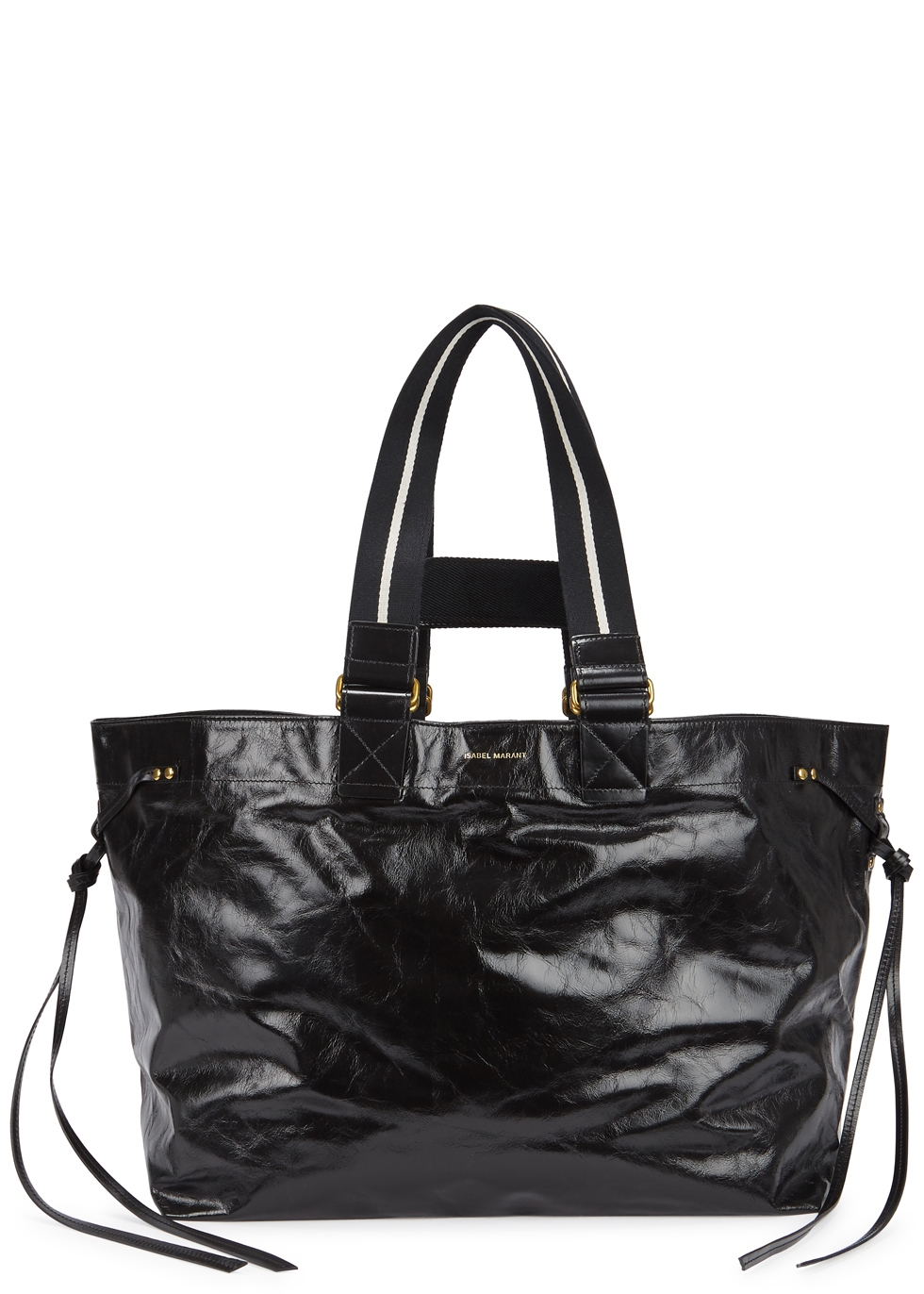 ISABEL MARANT WARDY BLACK GLOSSED LEATHER TOTE