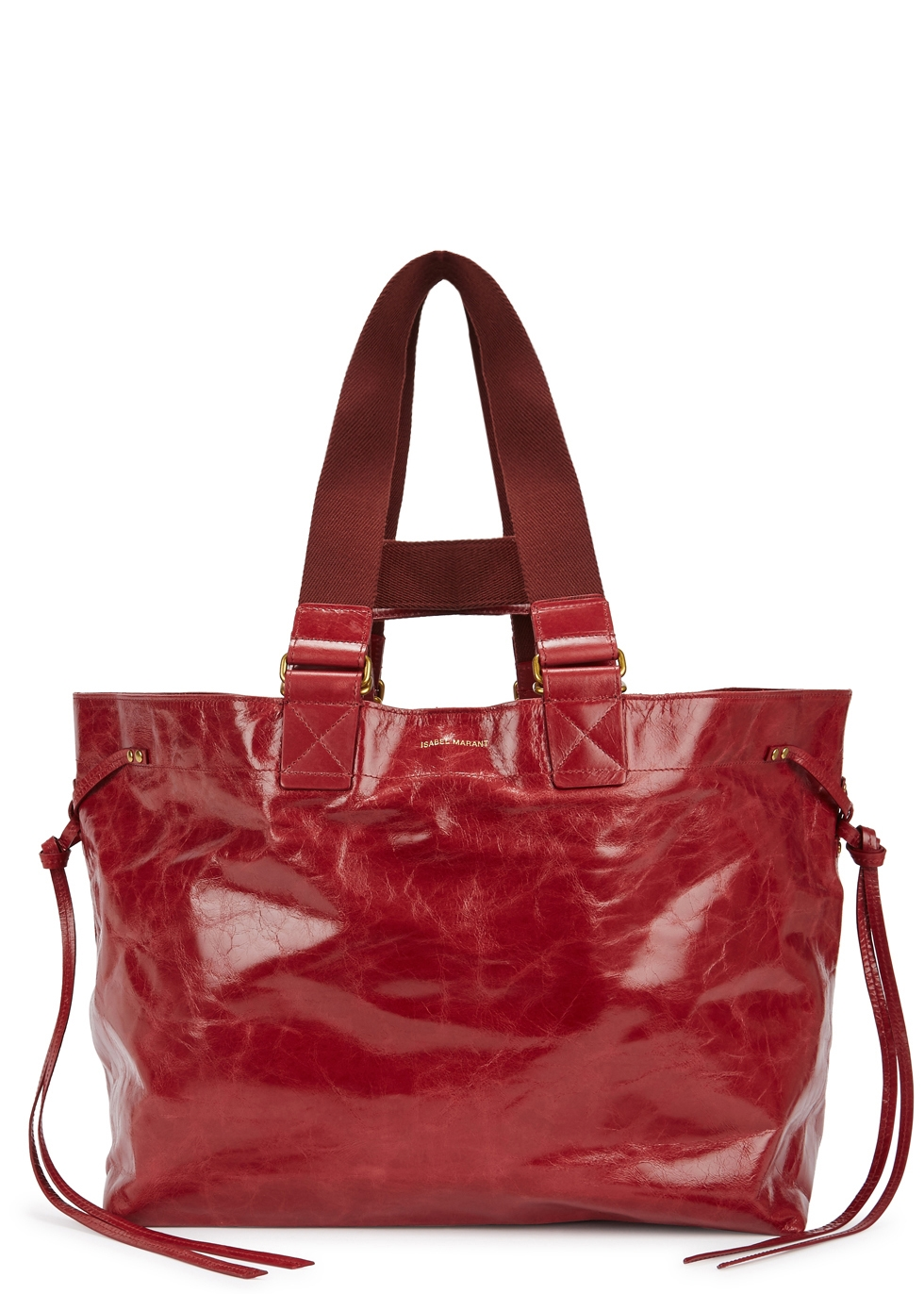 ISABEL MARANT WARDY RED GLOSSED LEATHER TOTE