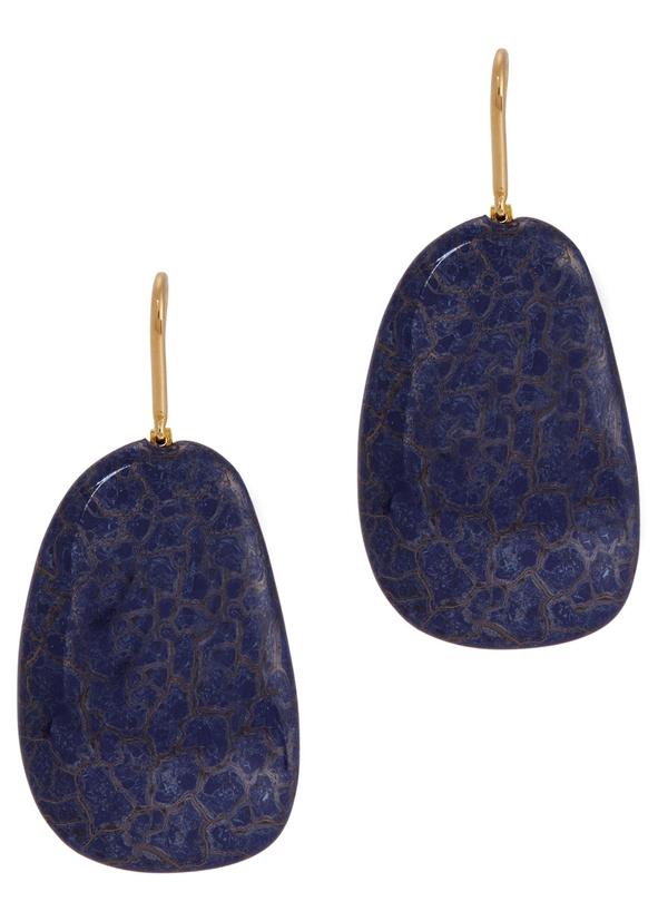 Square Blue Stone Earrings