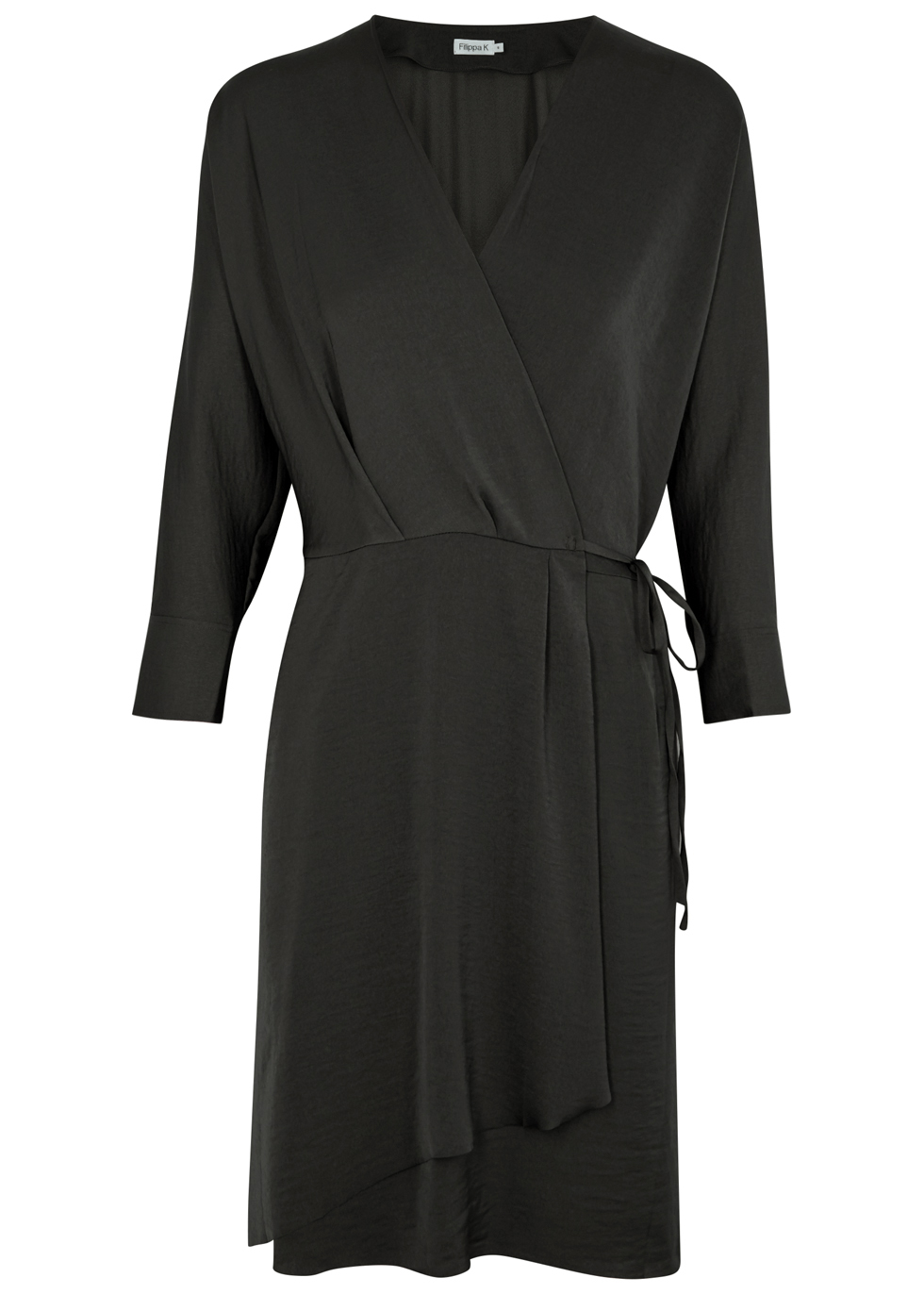 FILIPPA K ANTHRACITE SATIN WRAP DRESS