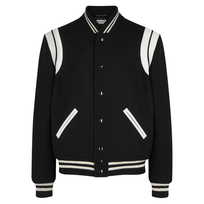 Saint Laurent Monochrome Wool-blend Bomber Jacket