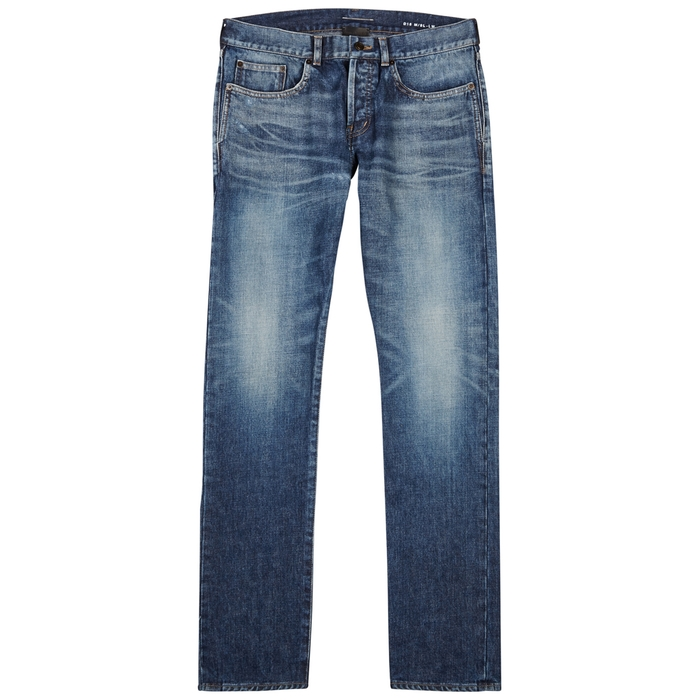 Saint Laurent Blue Distressed Slim-leg Jeans