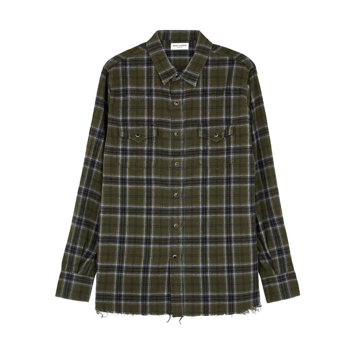 Saint Laurent Green Checked Cotton Shirt