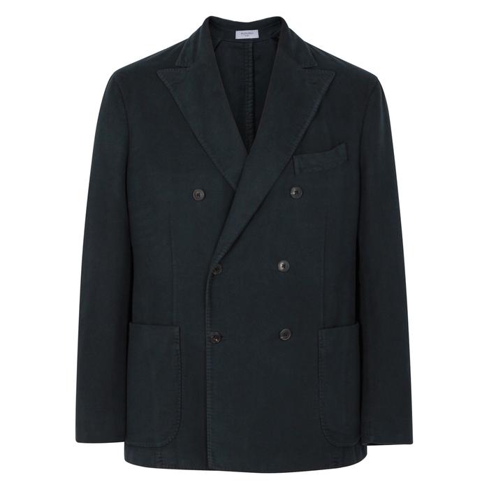 Boglioli Grey Double-breasted Cotton Blazer