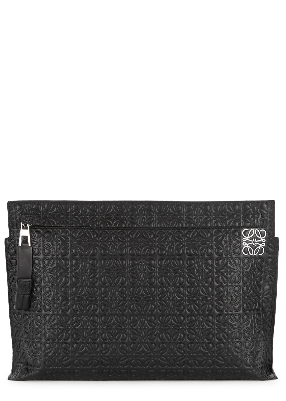 LOEWE BLACK LOGO-EMBOSSED LEATHER POUCH