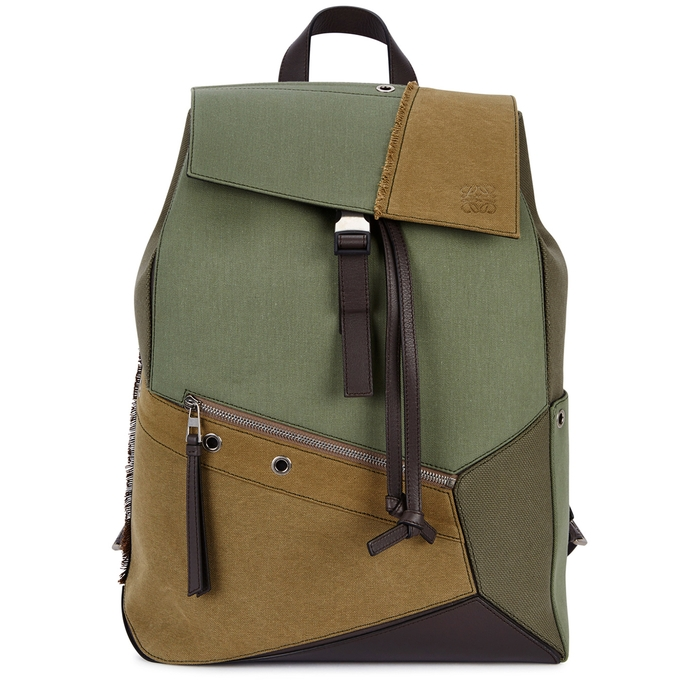 Loewe Puzzle Army Green Canvas Backpack